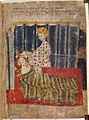 Green Knight's wife and Gawain - Sir Gawain and the Green Knight (c.1400-1410), f.129 - BL Cotton MS Nero A X.jpg