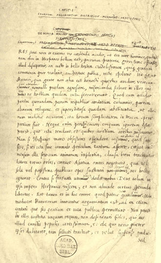 Hugo Grotius - Page written in Grotius' hand from the manuscript of De Indis (circa 1604/05)