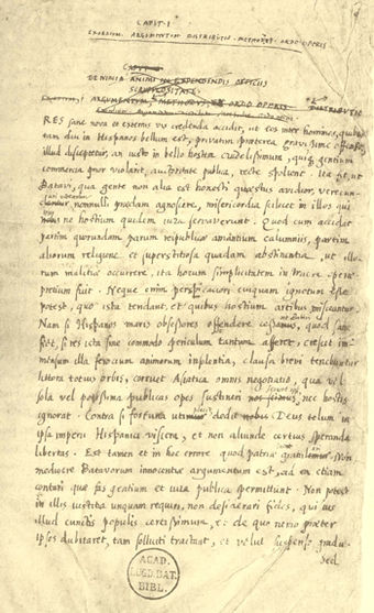 Page written in Grotius' hand from the manuscript of De Indis (circa 1604/05)