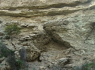 Messinian - Messinian gypsum and clay deposits in the Sorbas basin near Sorbas, southern Spain. Evaporite deposits of Messinian age are common throughout the Mediterranean.