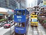 HK CWB 銅鑼灣 Causeway Bay 怡和街 Yee Wo Street blue Tram 107 body ads Bloomberg Businessweek view Footbridge August 2018 SSG.jpg