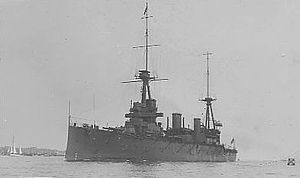 HMAS Australia (1911) - HMAS Australia on delivery in the UK in 1913