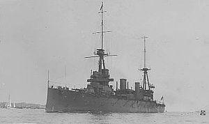 HMAS Australia (1911) - HMAS Australia on delivery in the UK in 1913