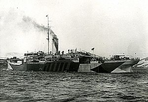 HMS Bayano with dazzle camouflage