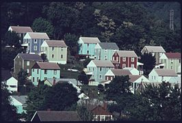 Multicolored houses in Boomer, West Virginia