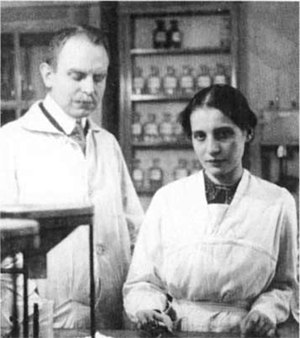 Eva von Bahr (physicist) - Lise Meitner with her research colleague Otto Hahn in 1912, the same year that Meitner and von Bahr met for the first time