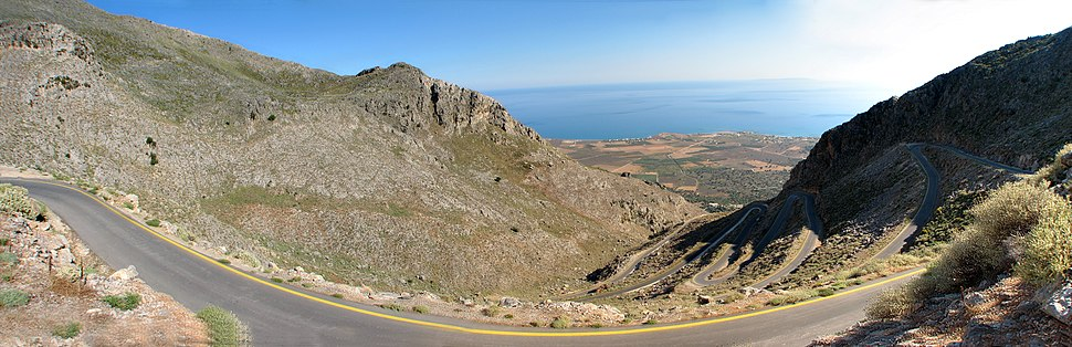 View of Frangokastello plain and Libyan Sea from Crete. Gavdos is barely seen on the horizon at the right