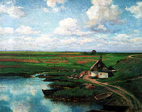 A pond in Südermarsch as painted by Richard von Hagn in 1923