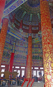 A richly decorated interior in red, blue, green and gold with many intricate designs, rising to a ceiling above the upper bound of the image