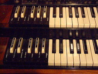 Hammond organ - Preset keys on a Hammond organ are reverse-colored and sit to the left of the manuals