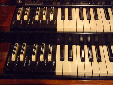 Preset keys on a Hammond organ are reverse-colored and sit to the left of the manuals Hammond preset keys.jpg