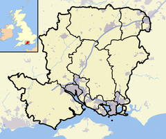 Hampshire outline map with UK