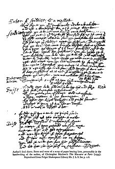 "Alleged foul sheet from Marlowe's writing of The Massacre at Paris (1593). Reproduced from Folger Shakespeare Library Ms.J.b.8. Recent scholars consider this manuscript part of a ""reconstruction"" by another hand. Handwriting-Marlowe-Massacre-1.JPG"