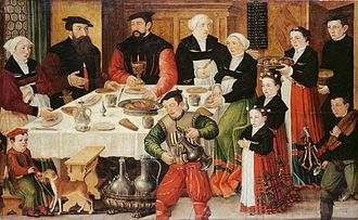 Faesch - Goldsmith Hans Rudolf Faesch (1510–1564) and his family, painted in 1559 by Hans Hug Kluber (Kunstmuseum Basel). He received a confirmation of nobility from Ferdinand I, Holy Roman Emperor in 1563.