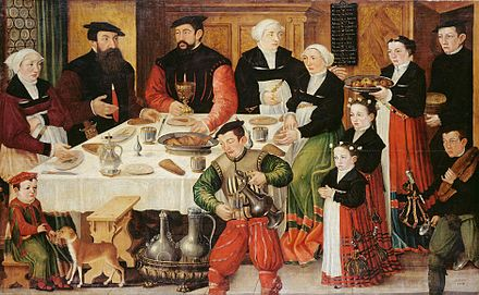 Goldsmith Hans Rudolf Faesch (1510-1564) and his family, painted in 1559 by Hans Hug Kluber (Kunstmuseum Basel). He received a confirmation of nobility from Ferdinand I, Holy Roman Emperor in 1563. Hans Rudolf Faesch and his family painted by Hans Hug Kluber in 1559.jpg