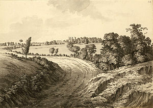 Samuel Hieronymus Grimm - Hardwick Hall from Thakley Lane, 1773