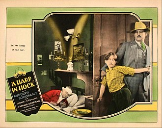 Louis Natheaux - Lobby card for A Harp in Hock (1927) with Louis Natheaux at right