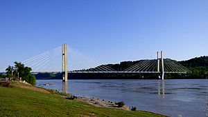 William H. Harsha Bridge - View facing southeast from Ohio shoreline