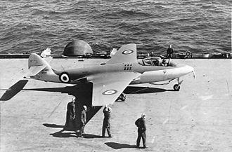 Hawker Sea Hawk - A Sea Hawk F1, WF145, aboard the aircraft carrier HMS Eagle, 1952