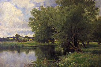 "John Clayton Adams - ""Haymaking on the Thames"" by John Clayton Adams"