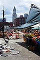 Haymarket pushcart vendors with Custom House Tower Boston 2018 P1020169.jpg