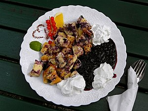 Kaiserschmarrn - Kaiserschmarrn served with whipped cream, blueberry and fruits