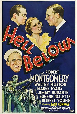 Edward Ellsberg - Poster for Hell Below (1933), adapted from Ellsberg's novel Pigboats