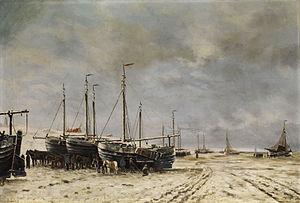 Hendrik Willem Mesdag Polderseelandschaft mit eingefrorenen Schiffen.jpg