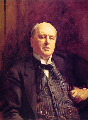 1910s in Western fashion - Writer Henry James wears a checked, single-breasted waistcoat or vest with a prominent watch chain, a wing-collared shirt, and a bow tie.  Portrait by Sargent, 1913.