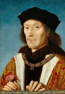 Portrait of Henry VII holding a red Lancastrian rose, attributed to Michel Sittow