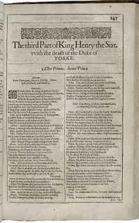 <i>Henry VI, Part 3</i> 1591 play by Shakespeare
