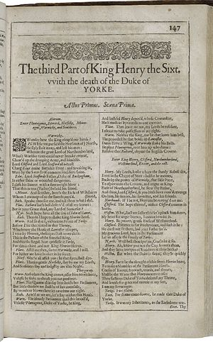 Henry VI, Part 3 - First page of The third Part of Henry the Sixt, with the death of the Duke of Yorke from the First Folio (1623).