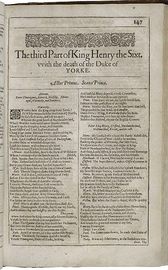 Henry VI, Part 3 - First page of The third Part of Henry the Sixt, with the death of the Duke of Yorke from the First Folio (1623)