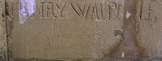 Henry Walpole - While incarcerated in the Salt Tower, Jesuit priest Henry Walpole carved his name in the plaster along with those of saints Peter, Paul, Jerome, Ambrose, Augustine, and Gregory the Great.