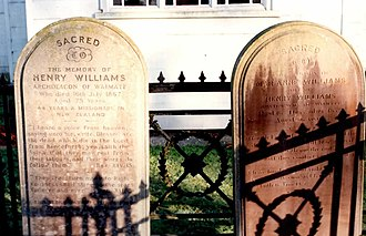 Henry Williams (missionary) - Gravestones of Henry and Marianne Williams, Holy Trinity Church, Pakaraka