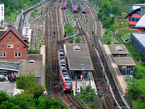Ammer Valley Railway - Herrenberg station: The bay platform of the Ammer Valley Railway is on the far left partially obscured by the entrance building