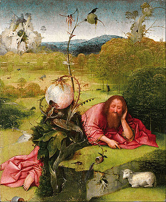 St. John the Baptist in the Wilderness - Image: Hieronymus Bosch Saint John the Baptist in the Desert Google Art Project