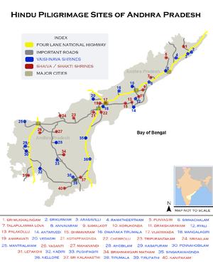 అంధ్రప్రదేశ్ యొక్క ముఖ్య పుణ్యక్షేత్రాల పటము