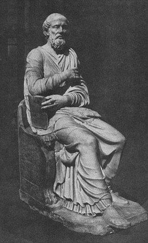 Hippolytus of Rome - Roman sculpture, maybe of Hippolytus, found in 1551 and used for the attribution of the Apostolic Tradition