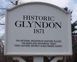 Glyndon, Maryland - A roadside sign marking Historic Glyndon.