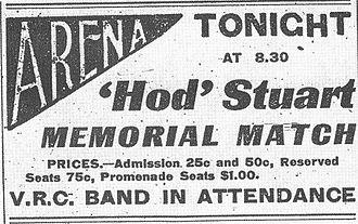 Hod Stuart - Newspaper advertisement for the memorial all-star game held to benefit Stuart's family, January 2, 1908.