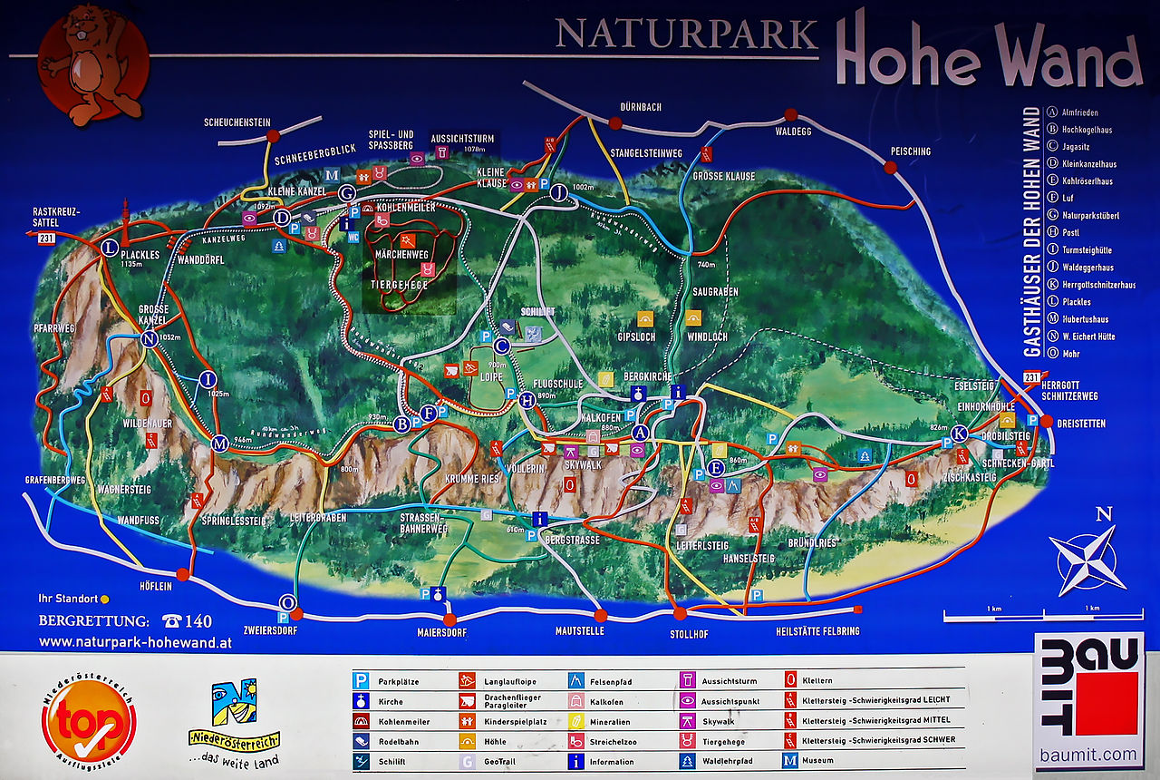 Übersichtskarte (Gaststätten) des Naturparks Hohe Wand