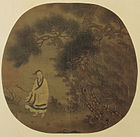 An oval painting mounted on a square background depicting a man in a white robe, holding a small stick, next to a tree. Strong wind blows everything in the painting leftward. The painting is done mainly in green tones.