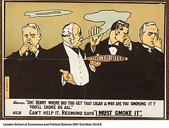 "Irish Home Rule movement - Cartoon: British politicians are forced to endure the stink of Henry Campbell-Bannerman's ""cigar"" of Irish Home Rule."
