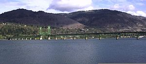 The Hood River Bridge seen from Hood River, Or...