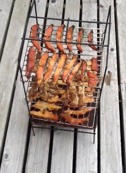 Hot smoked salmon on racks