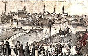 Gammelholm - Bremerholm in the 1620s, detail from engracing by Hugo Allard