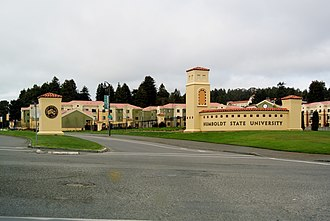 Humboldt State University - Primary HSU campus entrance on LK Wood Blvd (south side, adjacent to Highway101)