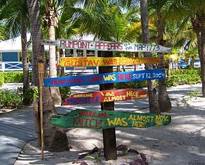 Cayman Islands - Signs at Rum Point commemorating landed and near-miss hurricanes