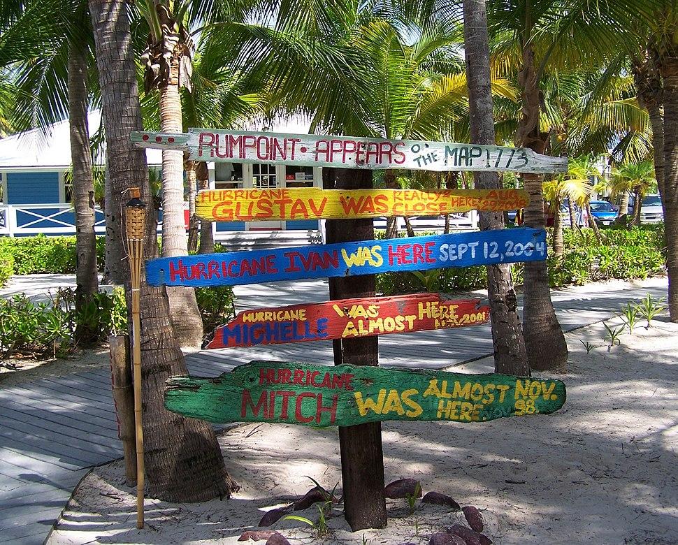Hurricane signs rum point